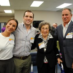From left: Julianna Manzi (Ann's granddaughter) with her husband, Brendon Syron, Ann Manzi and Joe Manzi.