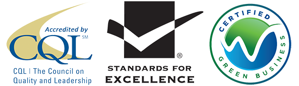 left to right : CQL logo, standards for excellence logo, certified green business logo
